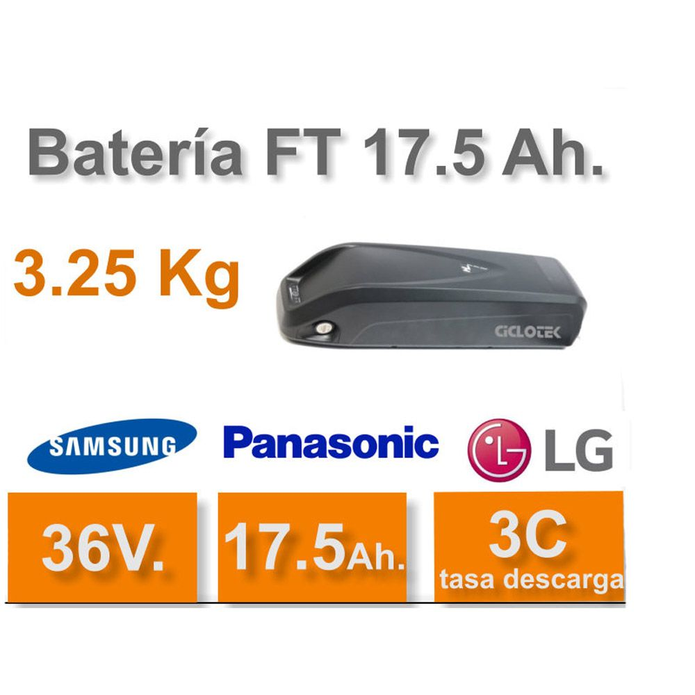 Kit Eléctrico Ciclotek Platinium LCD5 Bateria FT 36V 17.5A bateria